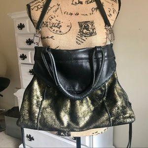AIMEE KESTENBERG Leather & Gold Satchel EUC